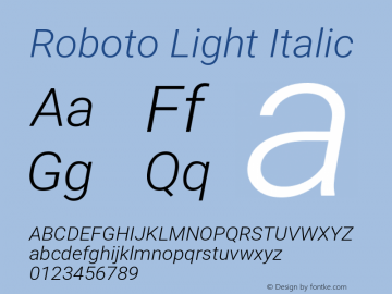 Roboto Light Italic Version 2.001047; 2015图片样张