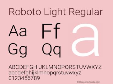Roboto Light Regular Version 2.001047; 2015图片样张