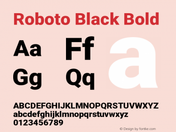 Roboto Black Bold Version 2.01404; 2016图片样张