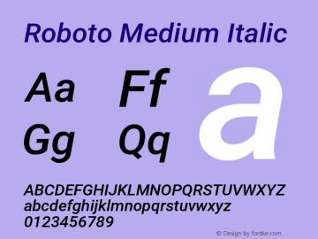 Roboto Medium Italic Version 2.001047; 2015图片样张