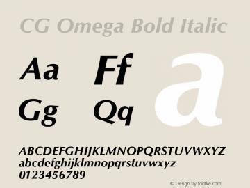 CG Omega Bold Italic Version 1.02� Font Sample