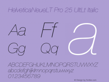 HelveticaNeueLT Pro 25 UltLt Italic Version 1.000;PS 001.000;Core 1.0.38图片样张