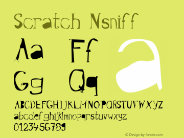 Scratch Nsniff Version 001.000 Font Sample