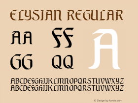 Elysian Regular Altsys Fontographer 3.5  5/18/93 Font Sample