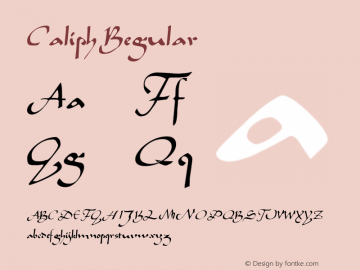 Caliph Regular Altsys Fontographer 3.5  5/18/93 Font Sample