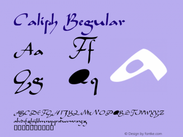 Caliph Regular Altsys Fontographer 4.0.3 03.06.1994 Font Sample