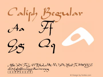 Caliph Regular Altsys Fontographer 3.5  12/6/92 Font Sample