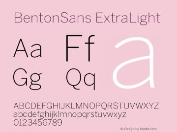 BentonSans ExtraLight Version 001.000 Font Sample