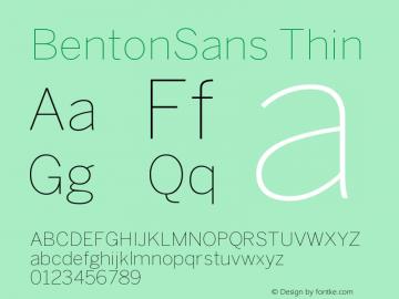 BentonSans Thin Version 001.000 Font Sample