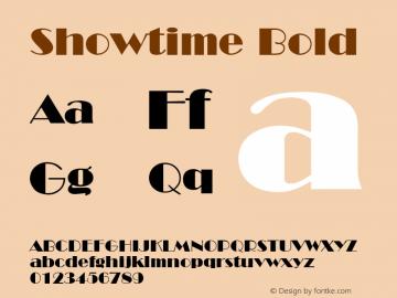 Showtime Bold Font Version 2.6; Converter Version 1.10 Font Sample