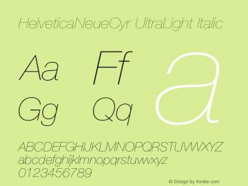 HelveticaNeueCyr UltraLight Italic 001.000图片样张