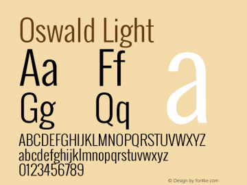 Oswald Light Version ; ttfautohint (v0.92 Font Sample