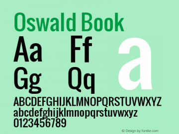 Oswald Book Version 1.000 Font Sample
