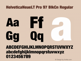 HelveticaNeueLT Pro 97 BlkCn Regular Version 1.000;PS 001.000;Core 1.0.38 Font Sample