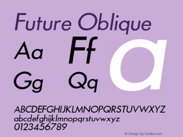 Future Oblique 1.000 Font Sample