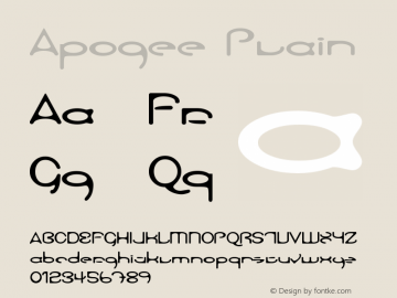 Apogee Plain Version 1.0 Font Sample