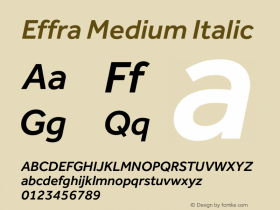 Effra Medium Italic Version 1.020 Font Sample