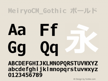 MeiryoCM_Gothic ボールド Version 5.00+ rev1 Font Sample