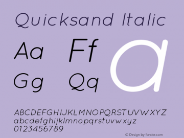Quicksand Italic Version 001.001 Font Sample