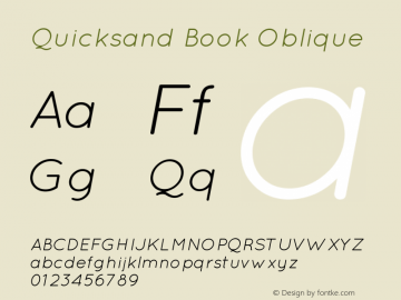 Quicksand Book Oblique 001.000 Font Sample
