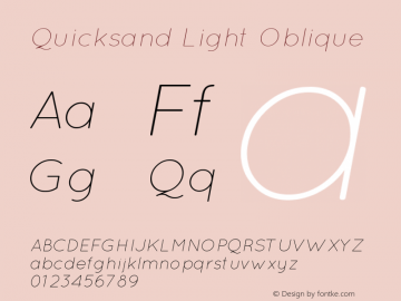 Quicksand Light Oblique 001.000 Font Sample