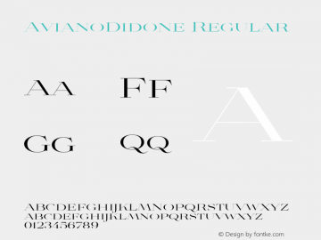 AvianoDidone Regular Unknown Font Sample