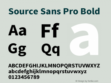 Source Sans Pro Bold Version 1.038;PS Version 1.0 Font Sample
