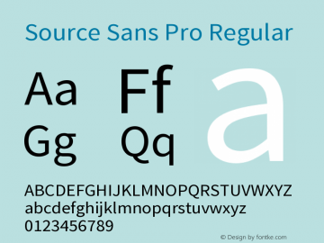 Source Sans Pro Regular Version 1.038;PS Version 1.0 Font Sample