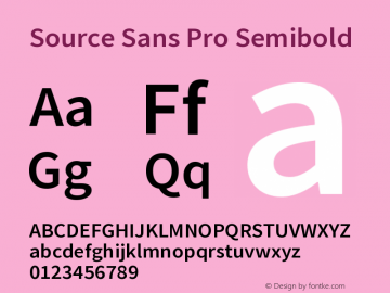 Source Sans Pro Semibold Version 2.0 Font Sample