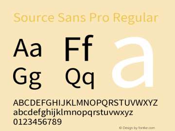 Source Sans Pro Regular Version 2.0 Font Sample