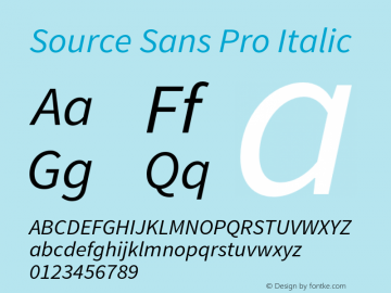 Source Sans Pro Italic Version 1.075;PS 2.0;hotconv 1.0.86;makeotf.lib2.5.63406 Font Sample