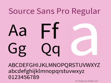 Source Sans Pro Regular Version 2.020;PS 2.0;hotconv 1.0.86;makeotf.lib2.5.63406 Font Sample