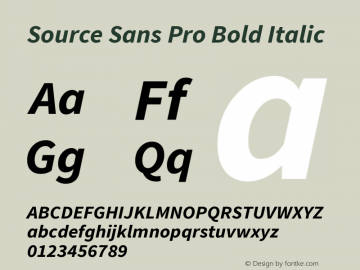 Source Sans Pro Bold Italic Version 1.065;PS 2.0;hotconv 1.0.78;makeotf.lib2.5.61930 Font Sample