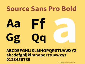 Source Sans Pro Bold Version 1.057;PS 1.0;hotconv 1.0.73;makeotf.lib2.5.5900 Font Sample