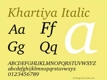 Khartiya Italic Version 1.0.1 Font Sample