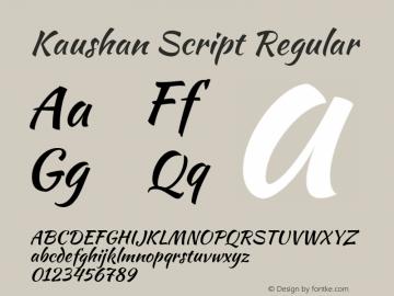 Kaushan Script Regular Version 1.002 Font Sample