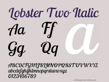 Lobster Two Italic Version 1.006 Font Sample