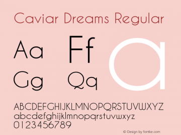 Caviar Dreams Regular Version 4.00 July 10, 2012 Font Sample