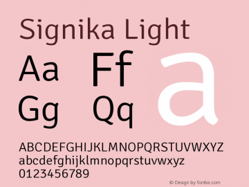 Signika Light Version 1.001 Font Sample