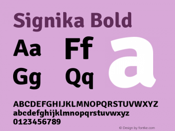 Signika Bold Version 1.001 Font Sample