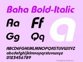Baha Bold-Italic 1.000 Font Sample