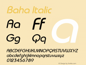 Baha Italic 1.000 Font Sample