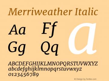 Merriweather Italic Version 1.005; ttfautohint (v0.97) -l 13 -r 13 -G 200 -x 24 -f dflt -w