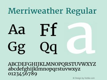 Merriweather Regular Version 1.52; ttfautohint (v0.97) -l 13 -r 13 -G 200 -x 24 -f dflt -w