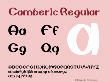 Camberic Regular Converted from E:\TRUETYPE\CAMBERIC.TF1 by ALLTYPE Font Sample