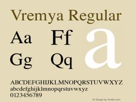 Vremya Regular Altsys Fontographer 3.5  6/26/92 Font Sample
