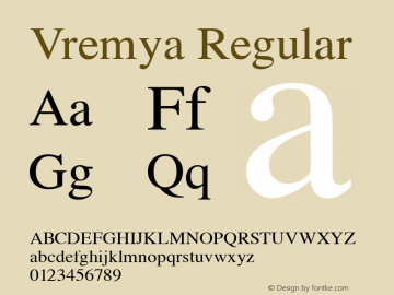 Vremya Regular Altsys Fontographer 3.5  6/26/92 Font Sample