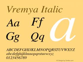 Vremya Italic Altsys Fontographer 3.5  6/26/92图片样张