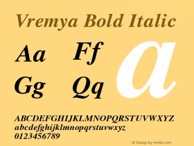 Vremya Bold Italic Altsys Fontographer 3.5  6/26/92图片样张
