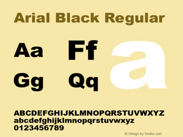 Arial Black Regular Version 5.00图片样张